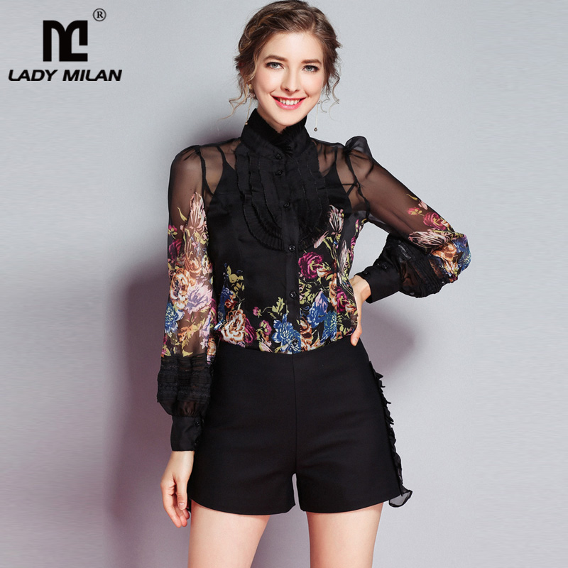 Lady Milan New Arrival 2019 Spring Women's Ruffles Floral Printed Long Sleeves Elegant Fashion Designer Silk Shirts&Blouses-in Blouses & Shirts from Women's Clothing    1