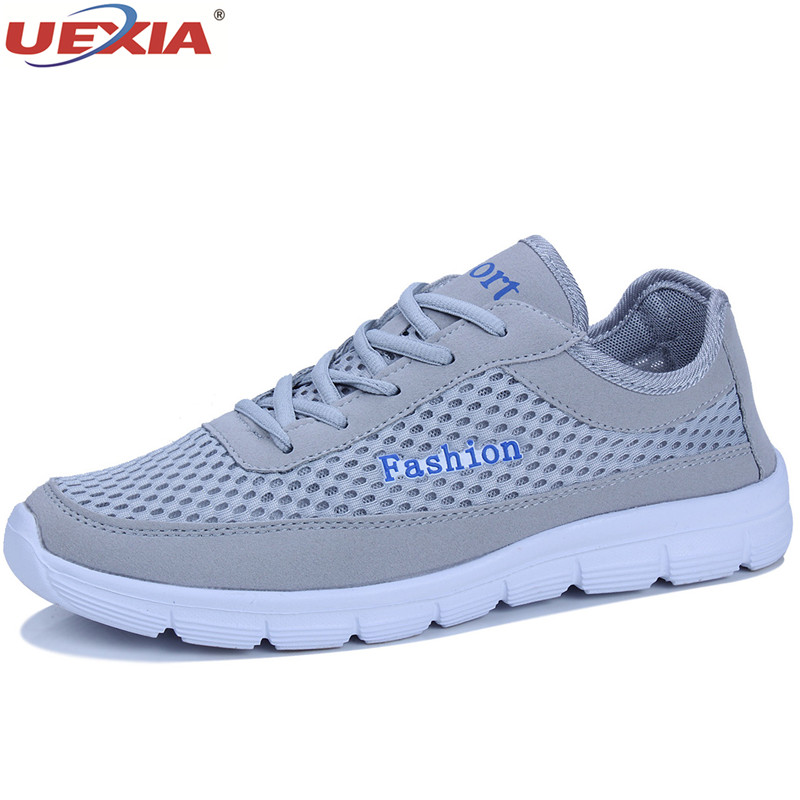 UEXIA Unisex Shoes Men Breathable Casual Male Shoes Men Fashion Mesh Light Lace-Up Flats Comfortable Sneakers Zapatillas Hombre forudesigns music notes with piano keyboard printed casual men sneakers flats fashion men lace up breathable mesh shoes men 2018