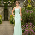 Honey Qiao Bridesmaid Dresses 2017 Mint Chiffon Illusion Lace Neck Floor Length Pleats Corset Cheap Elegant Long Prom Gowns