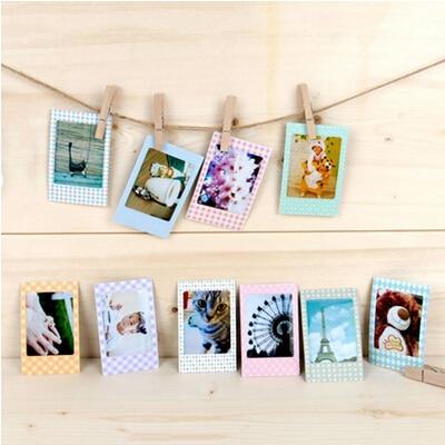 20 Pcs/lot Colorful DIY Scrapbook Decorative Paper Photos Frame Photo Stickers Albums For Instax Mini Film Home Decor