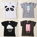 2016 Crianças Novas Do Bebê Verão curto-manga comprida t-shirt Meninos e meninas panda nuvens-de manga curta t-shirt das Crianças t-shirt