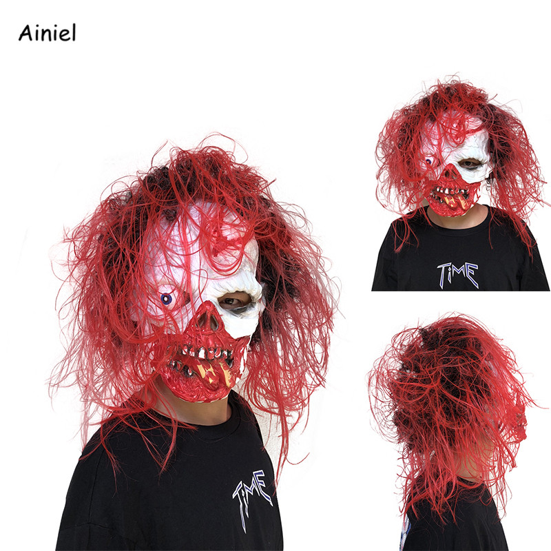 Adult Latex Scary Mask Full Head Face Horrible Mask Red Wig Fancy Dress Horror Terror Masks For Men Cosplay Halloween Party Prop Preventing Hairs From Graying And Helpful To Retain Complexion