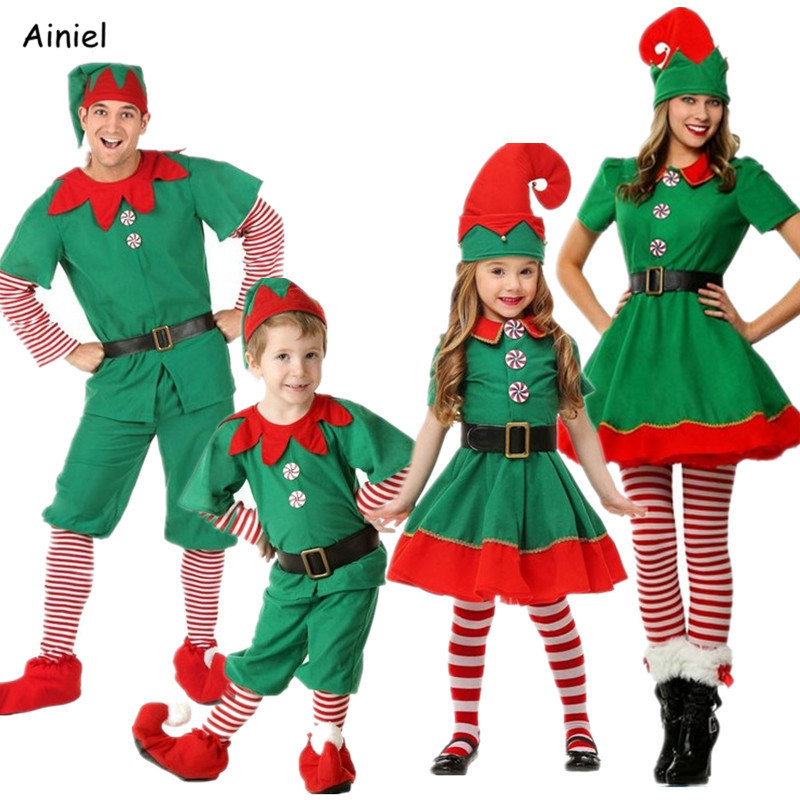 Christmas Cosplay Costume Elf Parent-Child Costume Green Children's Christmas Halloween Costume Hat Shoes Boys Girls Men Women
