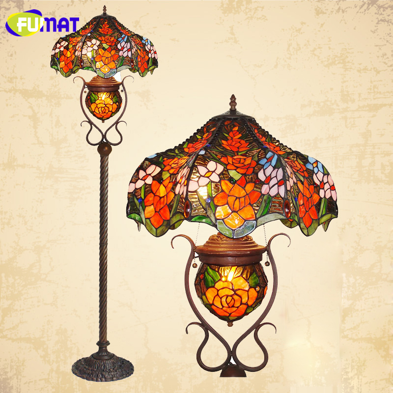 FUMAT Glass Art Floor Lamp Indoor Retro Stained Glass Rose Standing Lights Itrage Living Room Store Bar Decor Light Fxitures modern wood table floor lamp living room bedroom study standing lamps fabric decor home lights wooden floor standing lights
