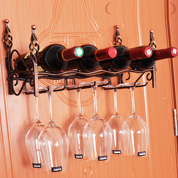 Metal Creative 4 Bottles Bronze Wall Mount Hook Stemware Wine Rack Storage Shelf For Glasses Free Shipping