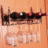 Metal Creative 4 Bottles Bronze Wall Mount Hook Stemware Wine Rack Storage Shelf For Glasses Free Shipping