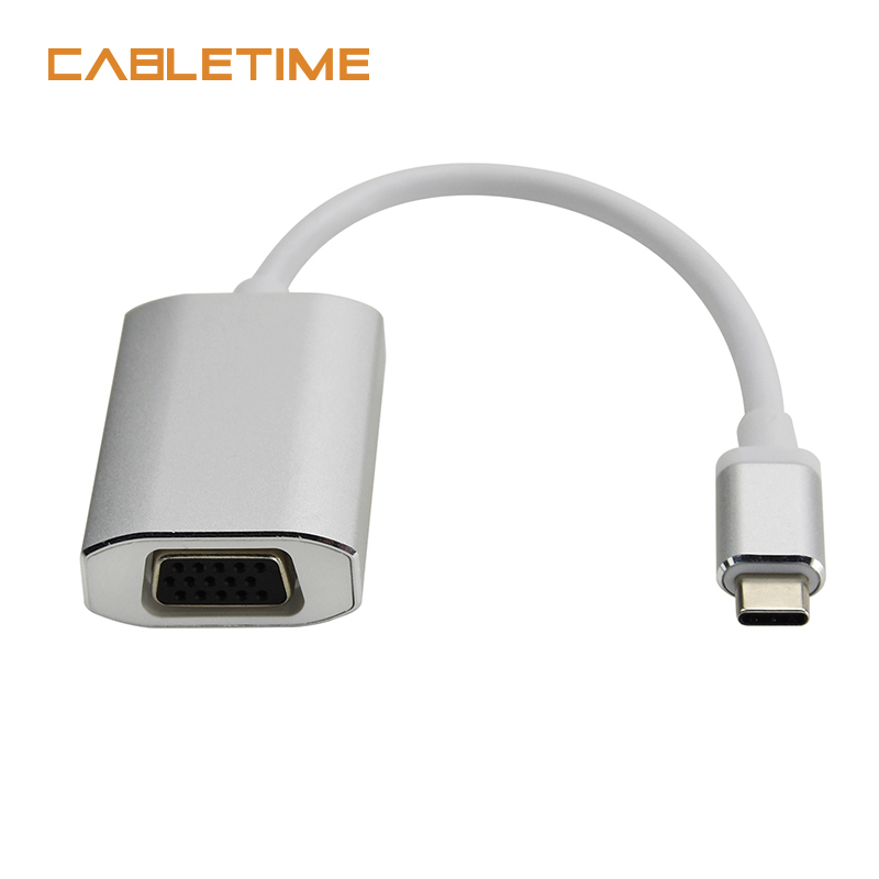 Cabletime USB Type C VGA Adapter Type C Cable to VGA Converter USB C 3.1 Adapter For Chromebook Macbook Pixel Dell Lumia N127
