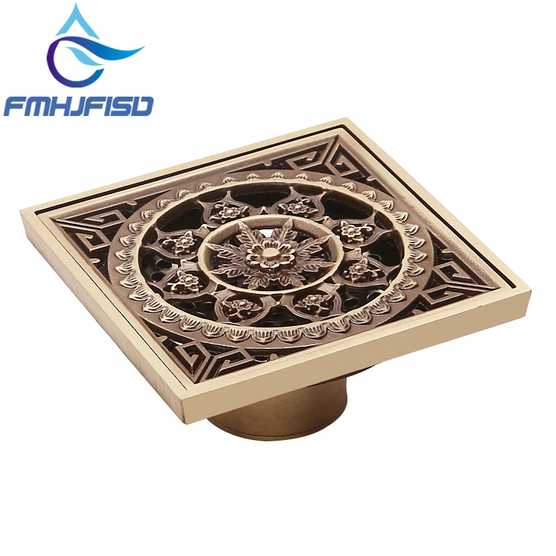 10*10cm Euro Style Antique Brass Flower Carved Art Drain Bathroom Shower Waste Drainer Bathroom Floor Drain free shipping high quality antique brass carved flower art bathroom accessory floor drain waste grate100mm 100mm yt 2110