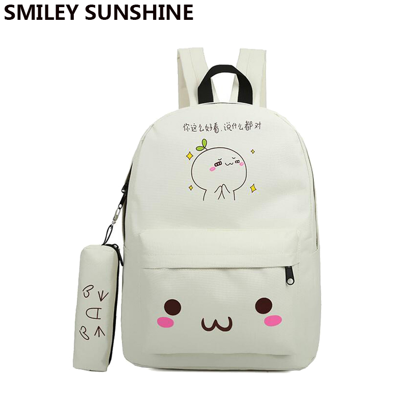Kawaii Emoji Backpack Feminine Canvas School Youth Cute For Agers S Smiley Bag Sac A Dos Ecole In Backpacks From Luggage