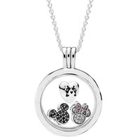 100% Real 925 Sterling Silver Necklace Diseny Sparkling Mickey Floating Locket Set Necklace For Fashion Women Jewelry Gift