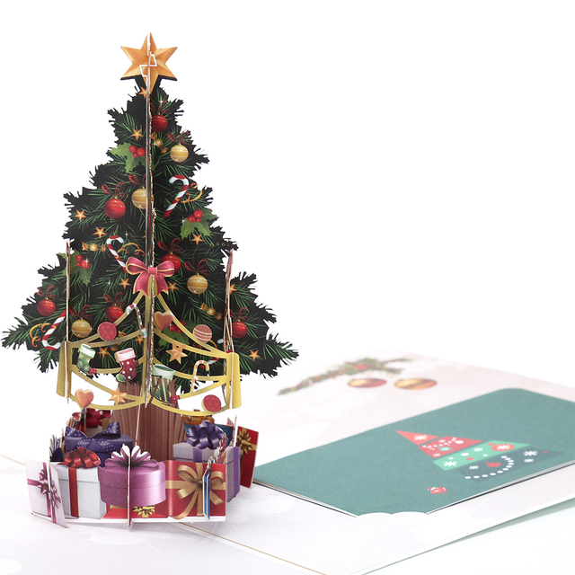 3D 15 * 15cm Cute colorful Merry Xmas Pop Up Card Postcard Christmas ...