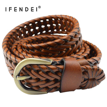 IFENDEI Leather Belts For Womens Jeans Ladies Braided Brown Belt Casual Handmade Knitted Vintage Female Strap High Quality
