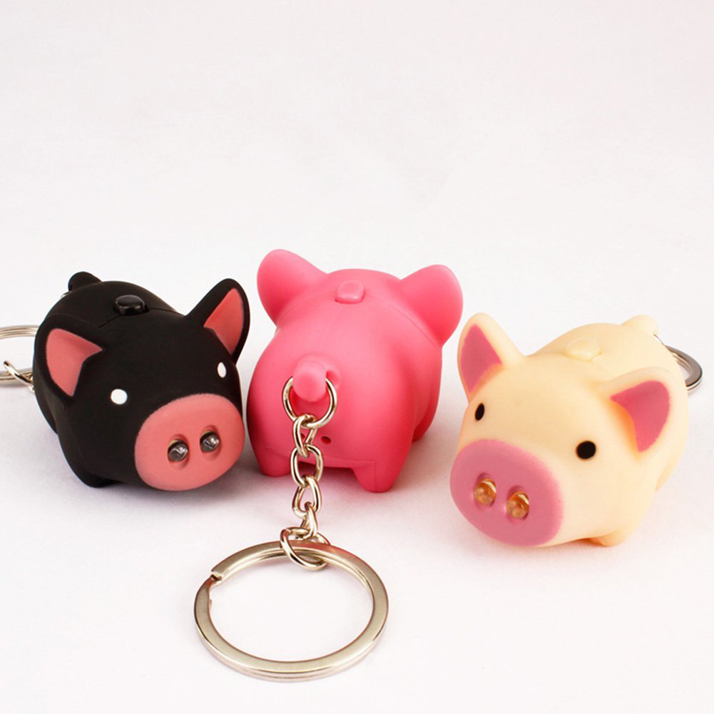 Cute Pig Style LED Light Sound Key Chain Keyring Car Bag Pendant Decoration Gift