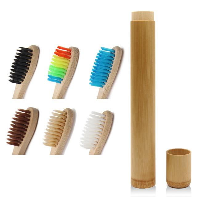 Genkent 1 piezas de bambú cepillo de dientes novedad de madera cepillo de dientes de cerdas suaves de bambú de fibra de madera de la manija tubo de bambú carbón conjunto
