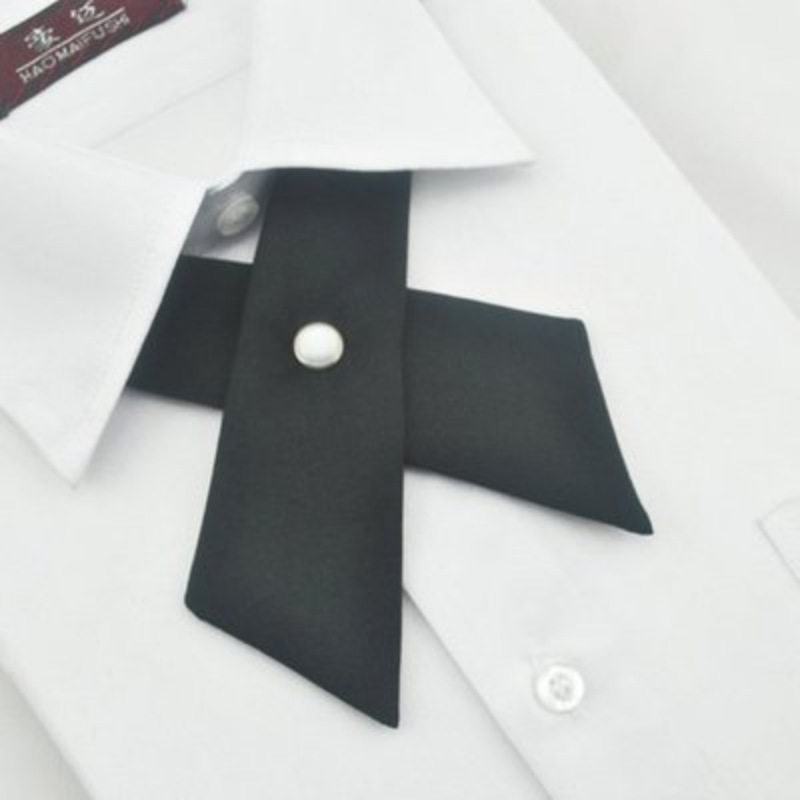 Women Girl Party Wedding Bowties Fake Collar Solid Color Cross Knot Necktie