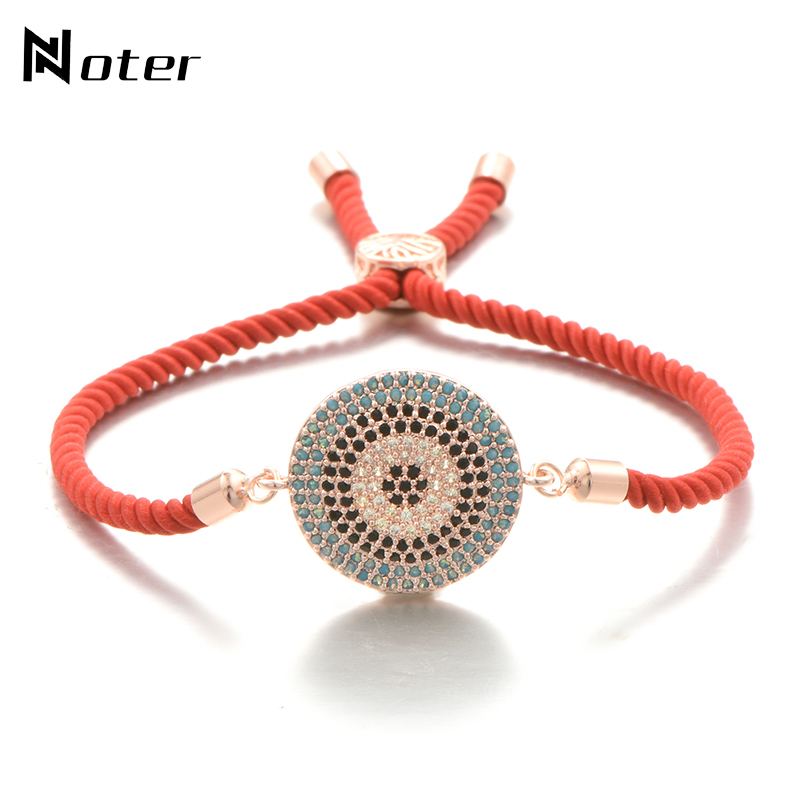 Noter Luxury AAA Zirconia Geometric Round Red String Bracelet Fashion Red Rope Lucky Braslet For Women Girls Wristband Jewelry
