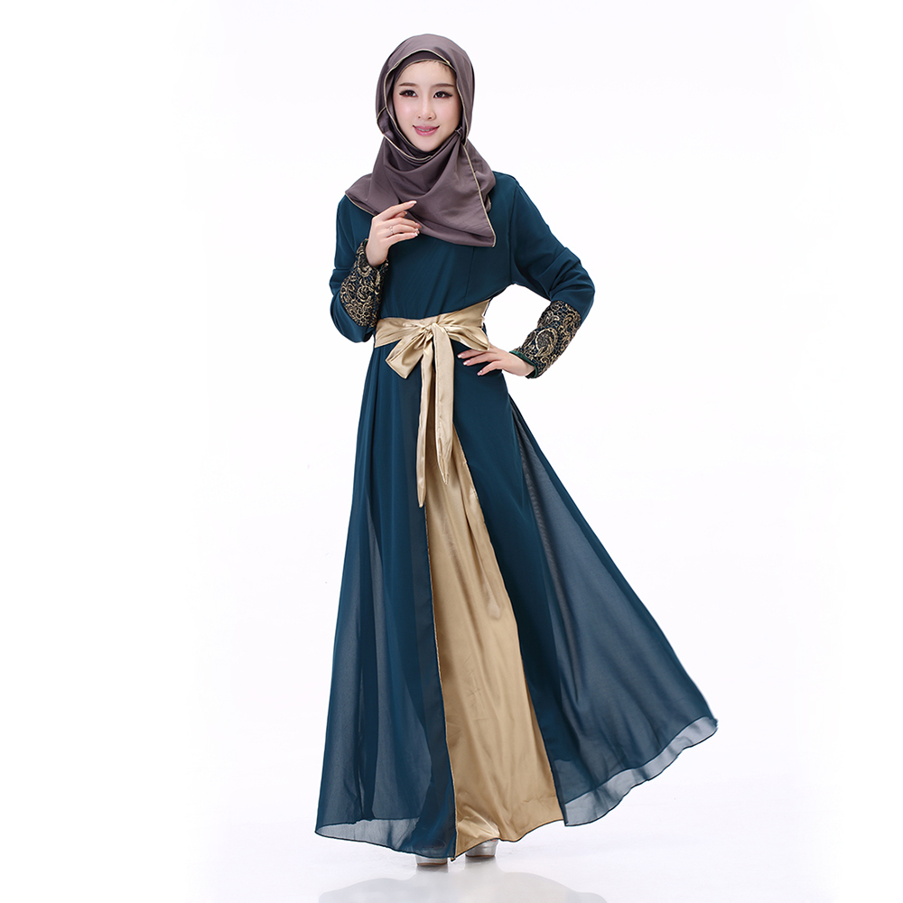 5b86692d5f5 Detail Feedback Questions about Islamic Clothing for Women Chiffon Splice  Lace Up Muslim Maxi Dress Turkish Evening Party Abaya Malaysia Tunic Robes  Hit ...
