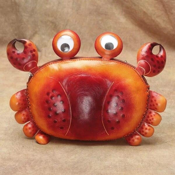Joli dessin animé crabe Animal Designer enfant Mini sac en cuir de vache véritable Adorable sac à bandoulière croix sac de téléphone des femmes étui à monnaie