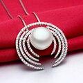 Sinya super de lujo de plata colgante de collar hecho a mano de la micro-ajuste 150 UNIDS grado AAA cz con grandes perlas de agua dulce naturales