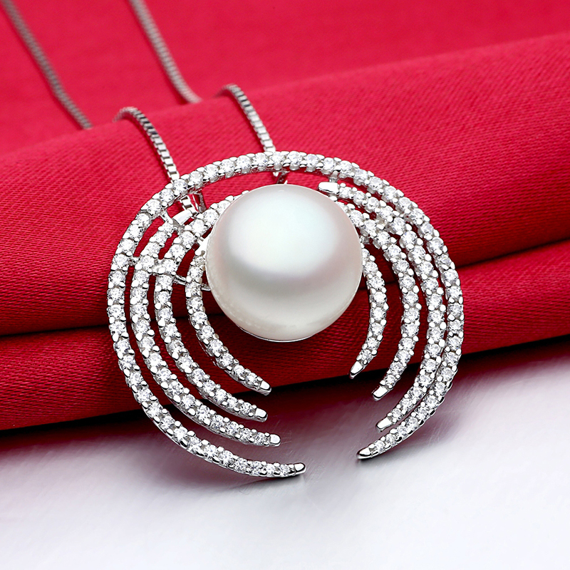 Sinya super luxury silver pendant necklace handcrafted micro-setting 150PCS AAA grade cz with big natural freshwater pearl