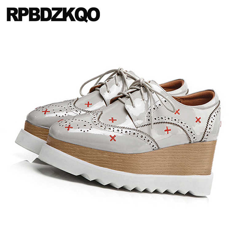 429a0dd24b32 ... wedge brogue embroidery oxfords grey patent leather custom women  embroidered creepers platform shoes large size japanese ...