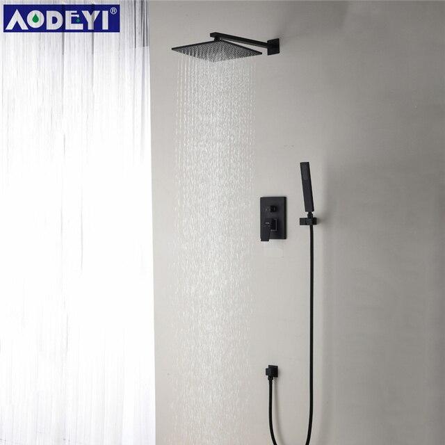 "Brass Black Shower Set Bathroom 8"" Spuare Bath Shower Head Faucet Wall Mounted Shower Arm Diverter Mixer Handheld Spray Set"