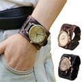 Дизайн моды Ретро Панк-Рок Коричневый Большой Широкий Кожаный Часы браслет Манжеты Часы Для Мужчин Женщин Девушки Прохладный Подарок Relojes Mujer