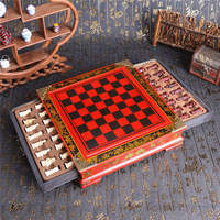 Brand New 32Pcs/Set Resin Chinese Chess With Coffee Wooden Table Vintage Collectibles Gift Entertainment Board Games Gifts
