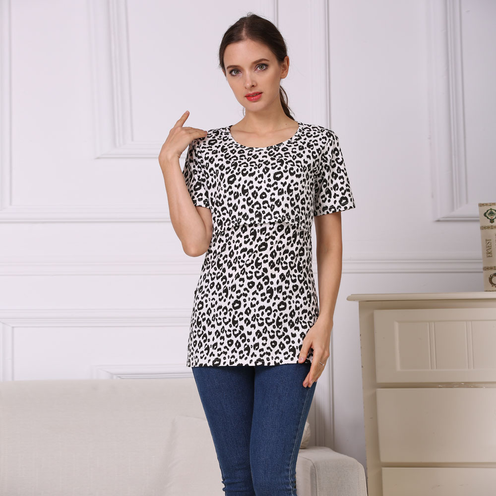 7a7bd32b6c2 Emotion Moms Short Sleeve Leopard Maternity Nursing Clothes Breastfeeding T  Shirt Pregnancy Tops for pregnant women Summe Tee-in Tees from Mother &  Kids on ...