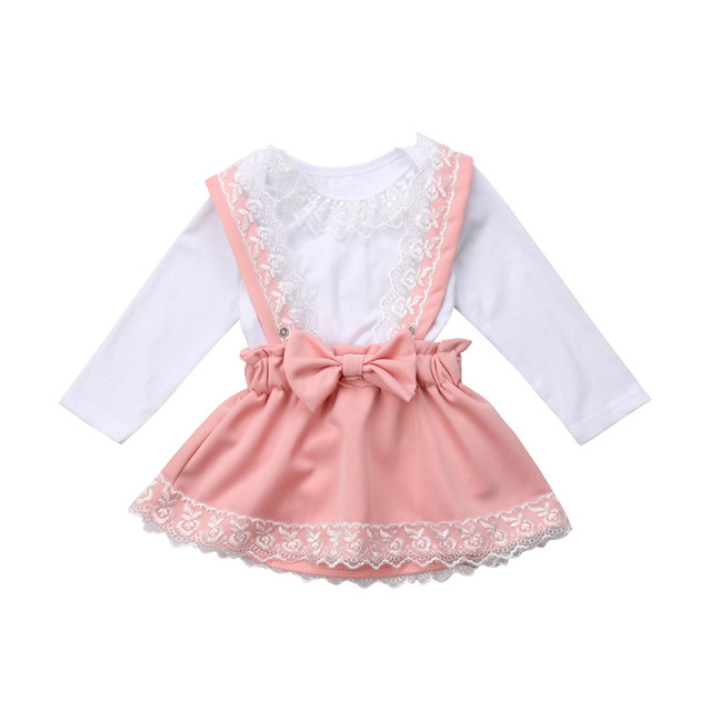 a195b5f509ba Newborn Baby Girls Autumn Cotton Clothes Cute Baby Girls Lace Long Sleeve Lace  White Romper Bow Princess Pink Suspenders Skirts