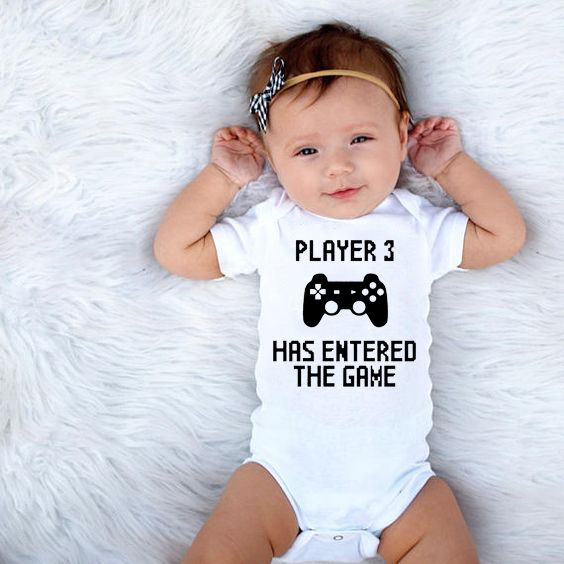 Player 3 Has Entered The Game Baby Newborn Boys Girls Bodysuits Summer Infant Toddler Jumpsuits Onesie Outwear 0-24Months