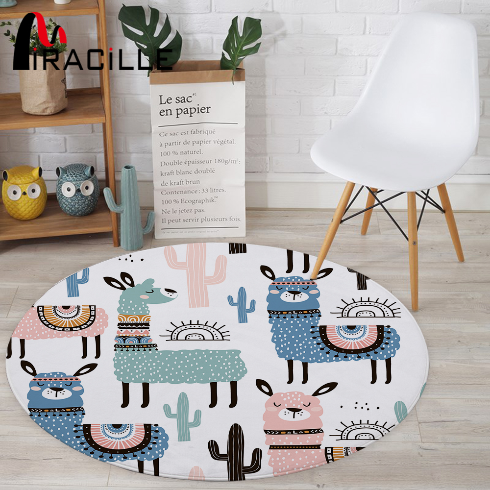 Miracille Cartoon Style Alpaca Pattern Round Carpet Non-Slip Bath Mat Soft Fluffy Coral Velvet Area Rug For Living Room Decor