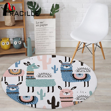 Miracille Cartoon Style Alpaca Pattern Round Carpet Non-Slip Bath Mat Soft Fluffy Coral Velvet Area Rug for Living Room Decor