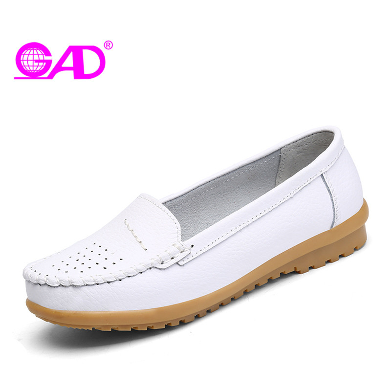 GAD Spring Women Loafers Fashion Shallow Casual Shoes Round Toe Slip-on Soft Bottom Comfort Women Flat Shoes Large Size 36-41 newest lady spring autumn shoes slip on lady soft leather flat platform fashion casual shoes women round toe loafers size 34 43