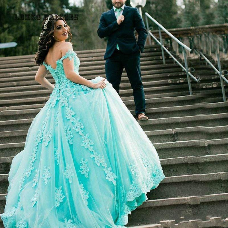 Puffy Prom Dresses Long 2019 Lace Appliques Beaded Party ...