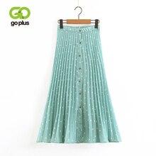 GOPLUS Green Pleated Skits 2019 Summer Women Elastic High Waist Polka Dot Printed Skirts Single Breasted Faldas Mujer