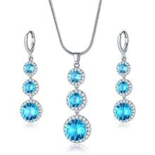 Trendy Light Blue Jewelry Sets Zircon Necklace And Drop Earrings Jewelry For Women Water Drop Shaped Necklaces And Drop Earrings a suit of graceful water drop hollow out necklace earrings ring and bracelet for women