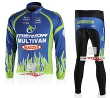 2010 MERIDA blue green cycling racing Team wear Winter Thermal Fleeced Long Sleeve Jersey & Z123 set Bike cycle Clothes tights