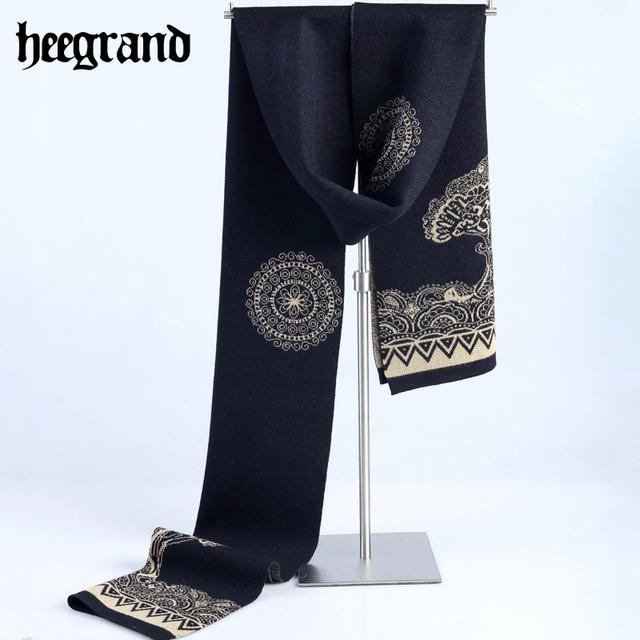 Hee grand 2017 otoño e invierno nuevos hombres y mujeres espesan la bufanda larga bufandas de lana de remiendo de la impresión floral de moda pwm095
