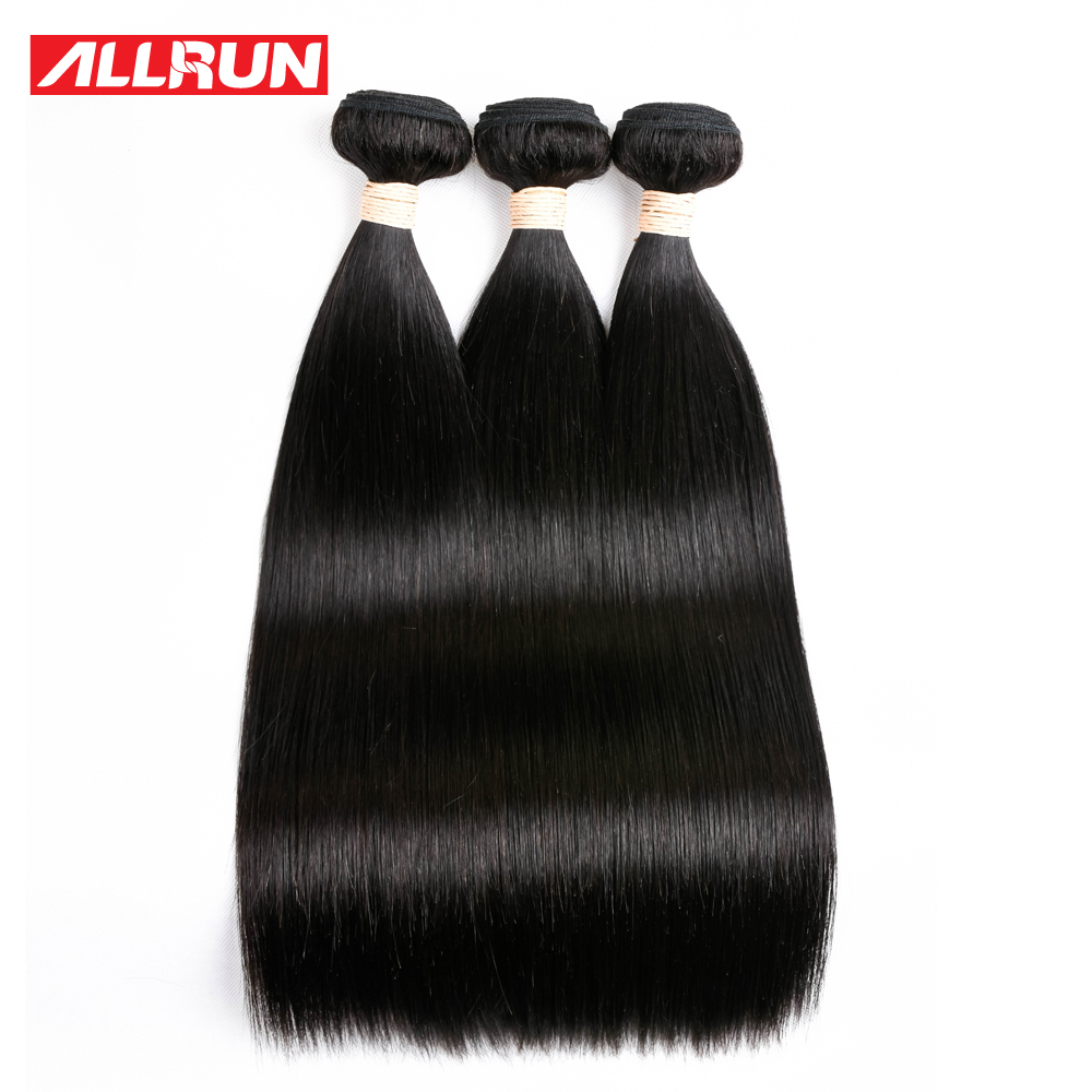 ALLRUN Hair Brazilian Straight Hair 3 Pcs Human Hair Bundles Non Remy Hair Extention Natural Color 8-28 inch Free Shipping ...