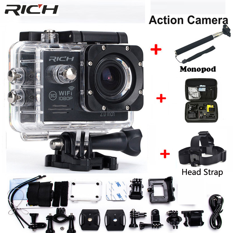 Action Camera 1080p Hd 30m Wifi Extreme Bicycle Dv Waterproof Sports Camrea Extra Head Strap+bag+monopod