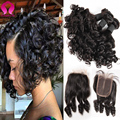8A Brazilian Virgin Hair Loose Weave With Closure Short Weave With Closure 4 Bundles With Closure Tissage Court Avec Closure