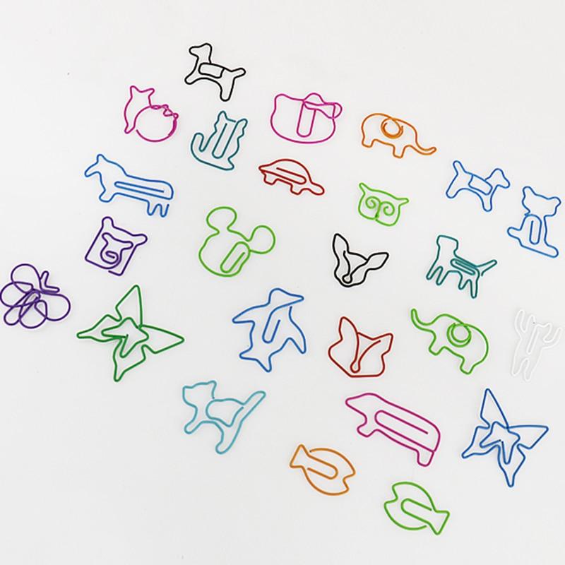 TUTU 30pcs/lot Cute Cartoon Animal Shape Paper Clips Creative Interesting Bookmark Clip Memo Clip Shaped Paper Clips H0006