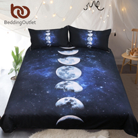 BeddingOutlet Moon Eclipse Changing Bedding Set Galaxy Printed Quilt Cover With Pillowcases 3D Landscape Bed Set 3 Piece