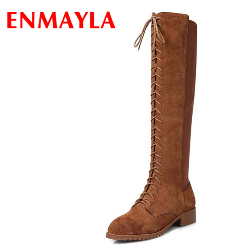 ENMAYLA Winter Autumn Round Toe Low Heel Knee High Boots Women Flats Lace-up Shoes Woman Rider Brown Black Suede Motorcycle Boot enmayla ankle boots for women low heels autumn and winter boots shoes woman large size 34 43 round toe motorcycle boots