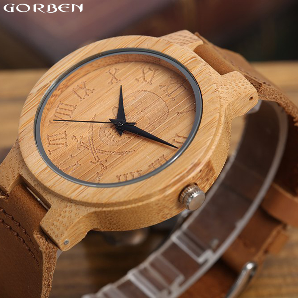 Natural Bamboo Wood Watches Dial Skull Design Casual Quartz Wristwatches Genuine Leather Band Strap Watches Men Women Clock Gift splendid shelon wristwatches quartz watches rhinestone women s watches genuine leather upscale large dial free shipping