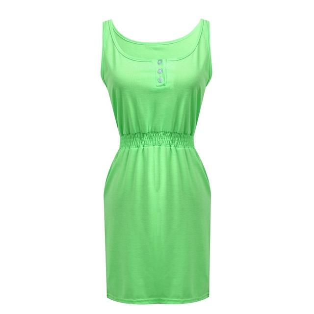 Women Summer Casual Sleeveless Button Evening Party Beach  Dress
