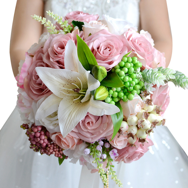2017 New Bridal Bouquet Wedding Artificial Flowers For Bridesmaids Pink Cheap Gros Bouquets De Mariage