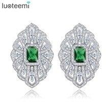 LUOTEEMI Brand New Arrival Austrian Crystal Statement Geometry Flower Ear Clips Women Trendy Earrings Chrisma Birthday Love Gift