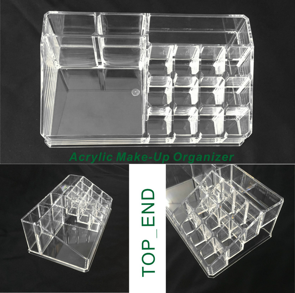 ... Free Shipping,Crystal Clear,Acrylic Cosmetics/Make Up Organizer,16  Compartments ...